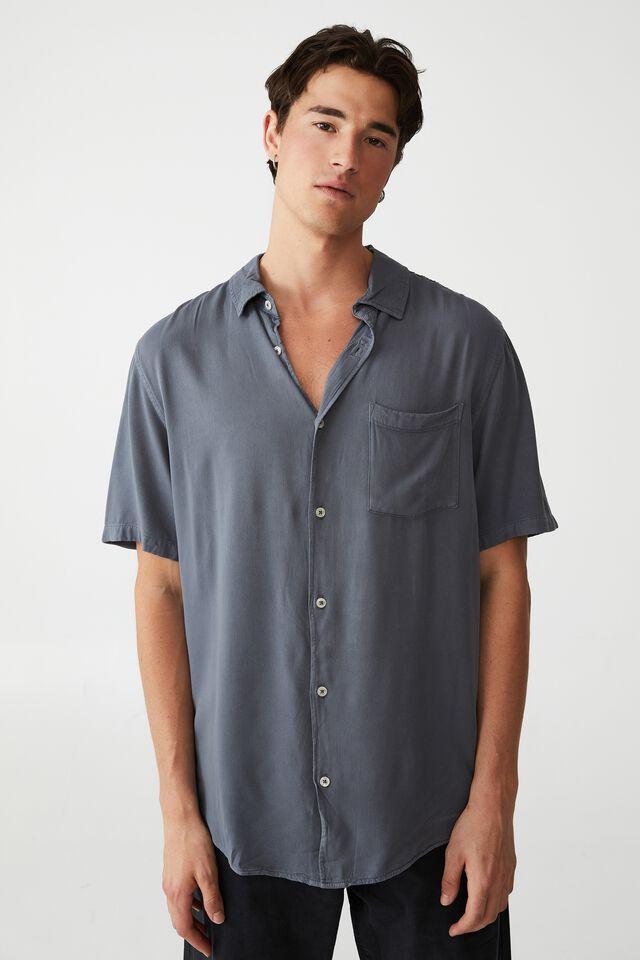 Cuban Short Sleeve Shirt, DUSTY DENIM
