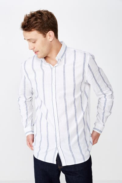 Premium Linen Cotton Long Sleeve Shirt, WHITE NAVY STRIPE