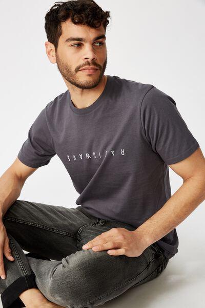 Tbar Text T-Shirt, LATE NIGHT BLUE/RADIOWAVE FLIPPED
