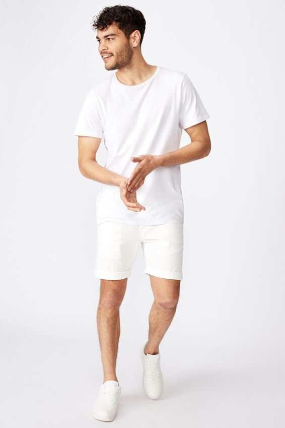 Washed Chino Short, WHITE