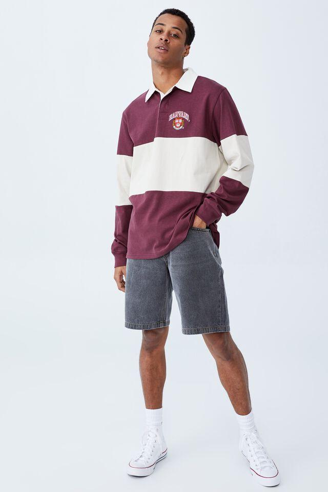 Rugby Collab Long Sleeve Polo, LCN HAR BURGANDY BONE/HARVARD MID PANEL