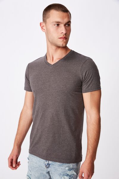 Essential Vee Neck, CHARCOAL MARLE