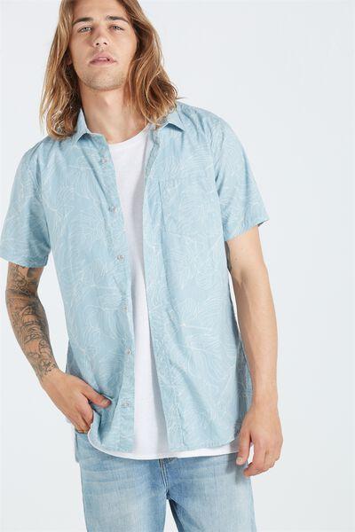 Sunset Short Sleeve Shirt, MID BLUE FLORAL