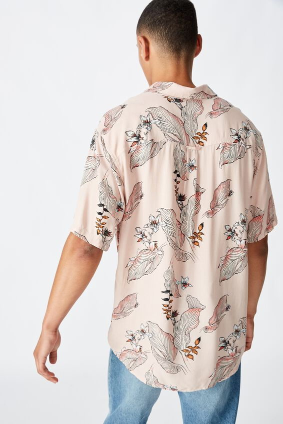 Short Sleeve Resort Shirt, PINK FLORAL