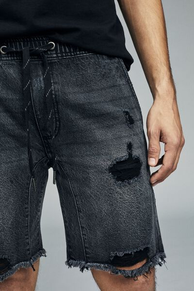 Customised Denim Short, RIGID WORKER BLACK + RIPS