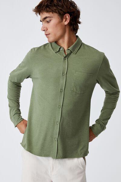 Textured Long Sleeve Shirt, GREEN TEXTURE