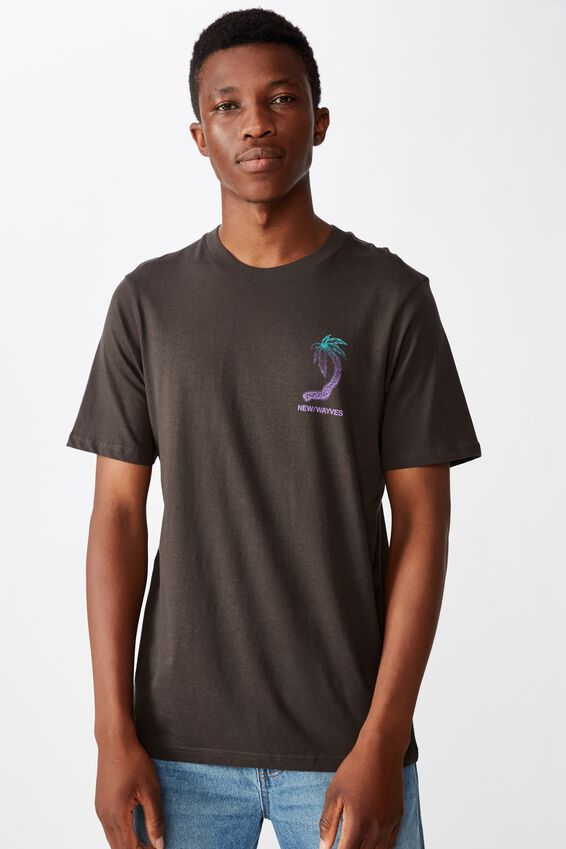 Tbar Art T-Shirt, SK8 WASHED BLACK/PALM TREE CIRCLE