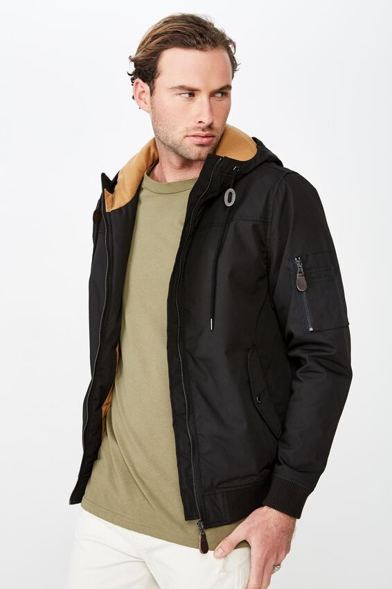 Ma1 Hooded Bomber Jacket, BLACK