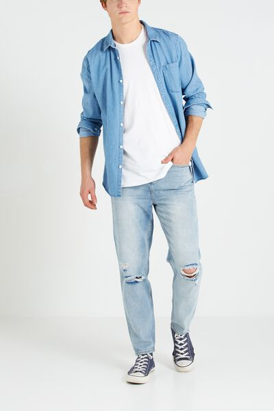 Slouch Tapered Leg Jean, 80S BLUE WITH RIPS