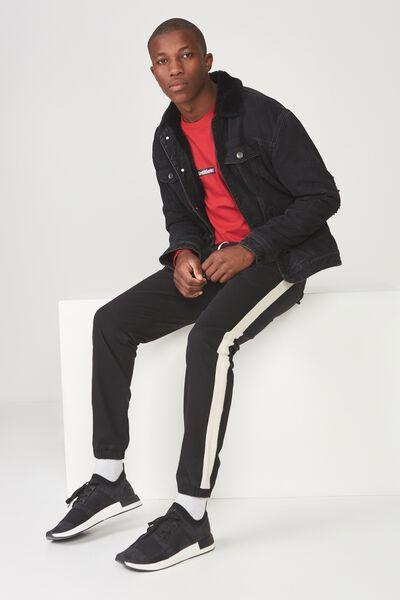 Drake Cuffed Pant, BLACK STRIPE HERRINGBONE
