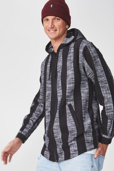 Zip Hood Shirt, BLACK WHITE STRIPE