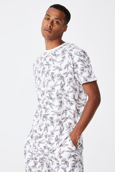 Longline Scoop Lounge T-Shirt, LCN WB BUGS BUNNY FACE PRINT - WHITE