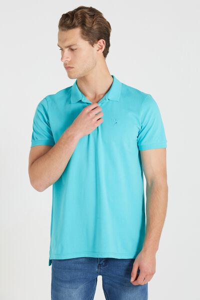 Short Sleeve Icon Polo, TEAL/MARLIN