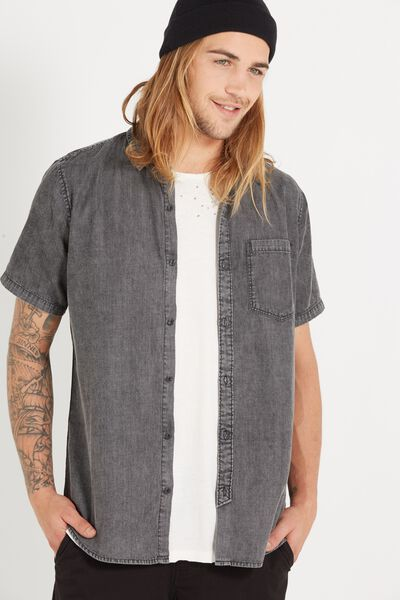 91 Short Sleeve Shirt, ACID WASH BLACK