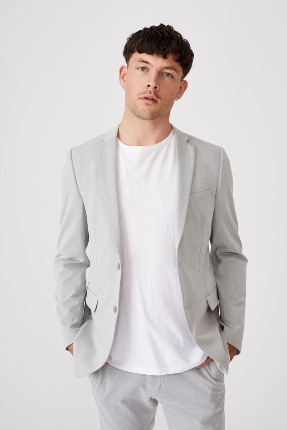 Super Stretch Slim Suit Jacket, LIGHT GREY