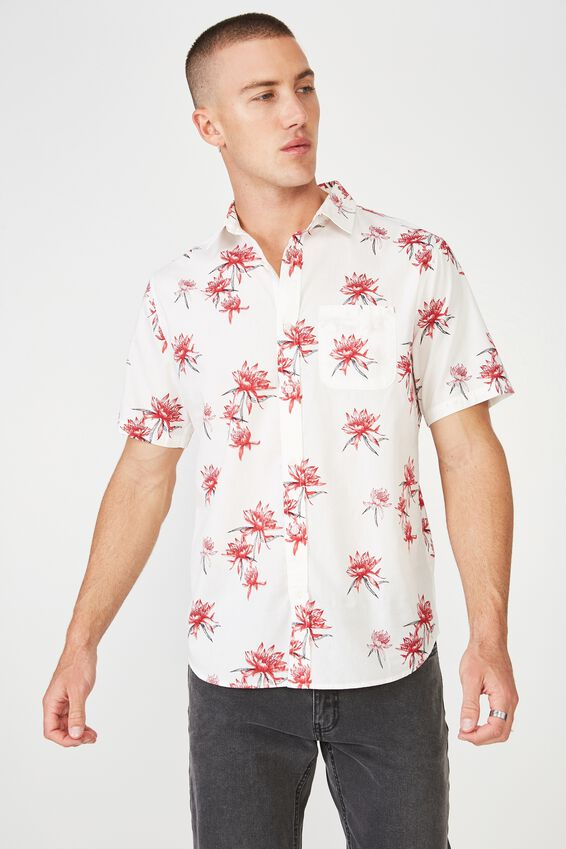 Short Sleeve Resort Shirt, RED SPACED FLORAL