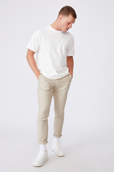 Skinny Stretch Chino, BEIGE PRINCE OF WALES