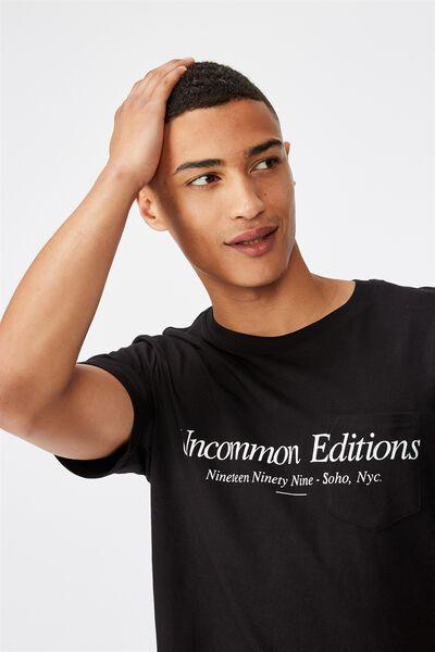 Tbar Text T-Shirt, BLACK/UNCOMMON EDITIONS POCKET