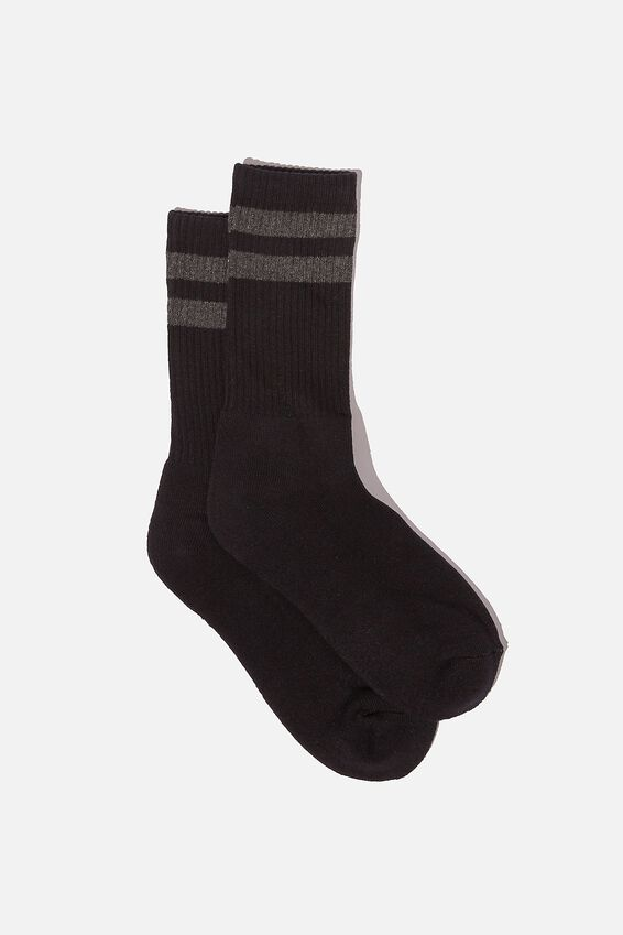 Essential Active Sock, BLACK/CHAROAL MARLE/SPORT STRIPE