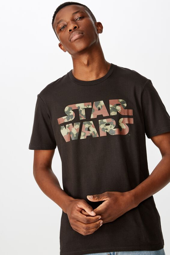 Tbar Collab Star Wars T-Shirt, LCN DIS WASHED BLACK/STAR WARS - KHAKI LOGO