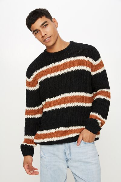Chenille Crew Knit, BLACK TAN STRIPE