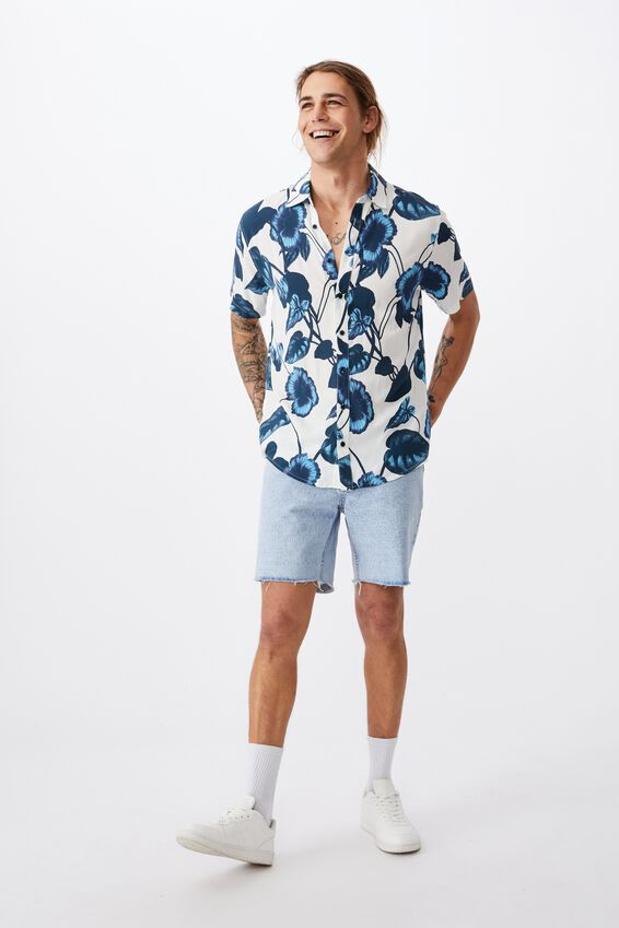 Short Sleeve Resort Shirt, BLUE STATEMENT FLORAL
