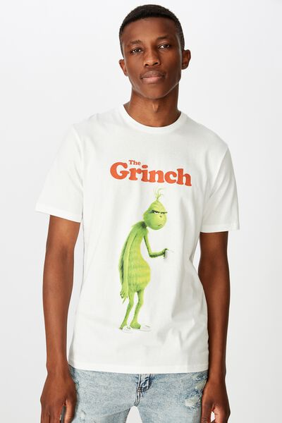 Tbar Collab Xmas T-Shirt, LCN UNI VINTAGE WHITE/THE GRINCH - GRUMPY