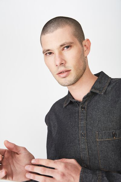 Long Sleeve Denim Shirt, DISTRESSED BLACK DENIM