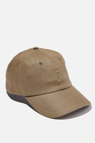 Strap Back Dad Hat, OLIVE TEXTURE/STUDIO JOURNAL