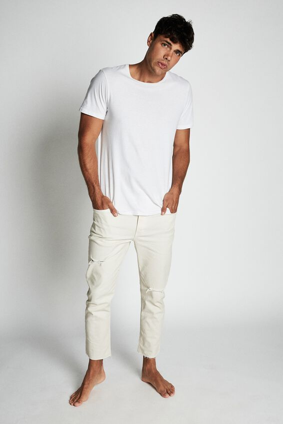 Raw Crop Jean, OFF WHITE  RIPS