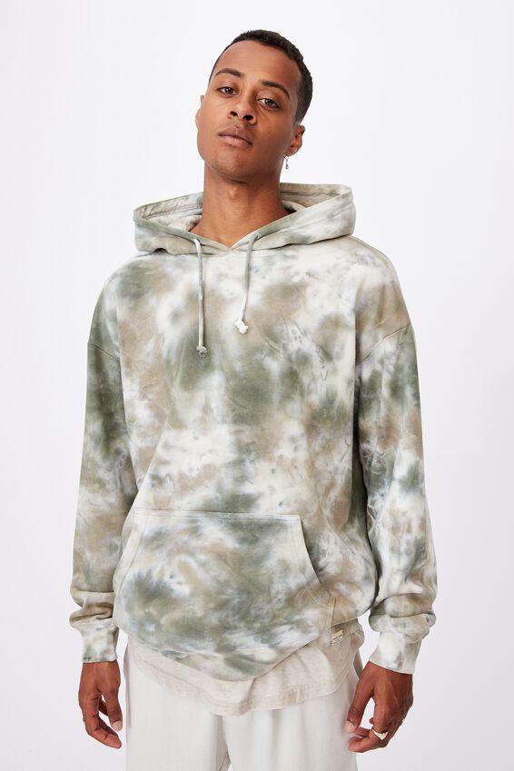 Drop Shoulder Pullover Fleece, FOREST TIE DYE