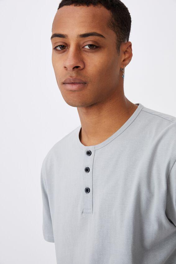 Longline Scoop Henley T-Shirt, BLUE HAZE
