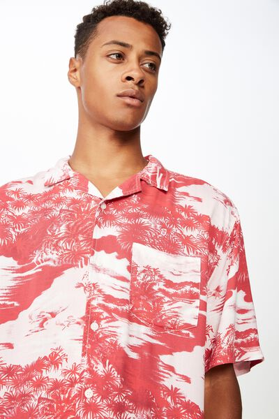 8d083adfc9f0 91 Short Sleeve Shirt, RED LANDSCAPE. Cotton On Men