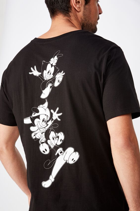 Tbar Collab Character T-Shirt, LCN WB SK8 BLACK/ANIMANIACS - STACKED