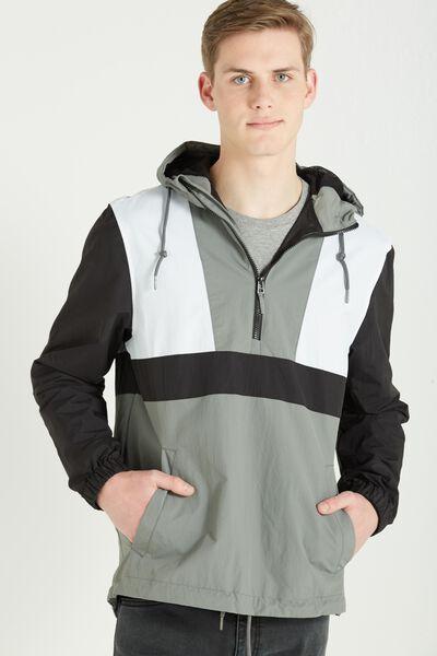 Retro Spray Kagoul Jacket, GREY
