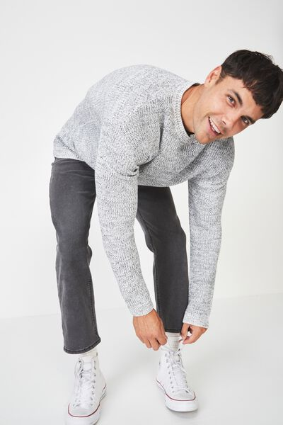 Box Crew Knit, GREY MARLE