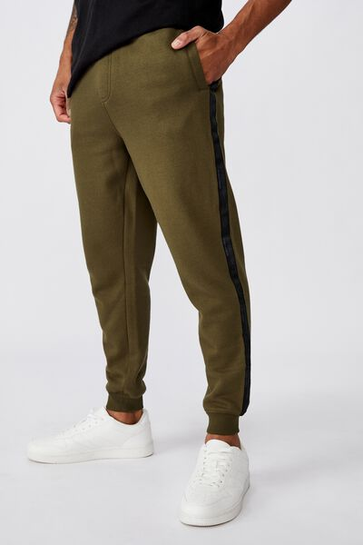 Trippy Slim Trackie, ARMY GREEN/SIDE TAPE