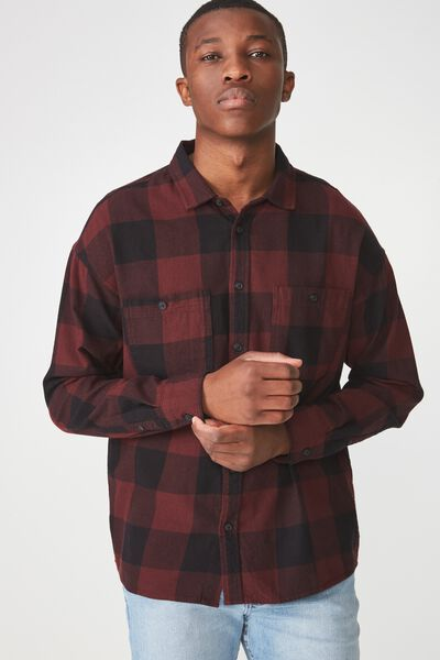 Long Sleeve Workwear Shirt, BURG CHECK FLANNO