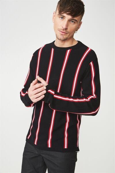 Split Hem Knit, BLACK RED STRIPE