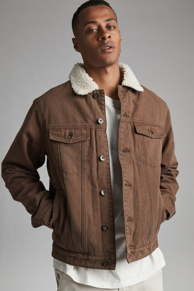 Borg Denim Jacket, CHOCOLATE CANVAS