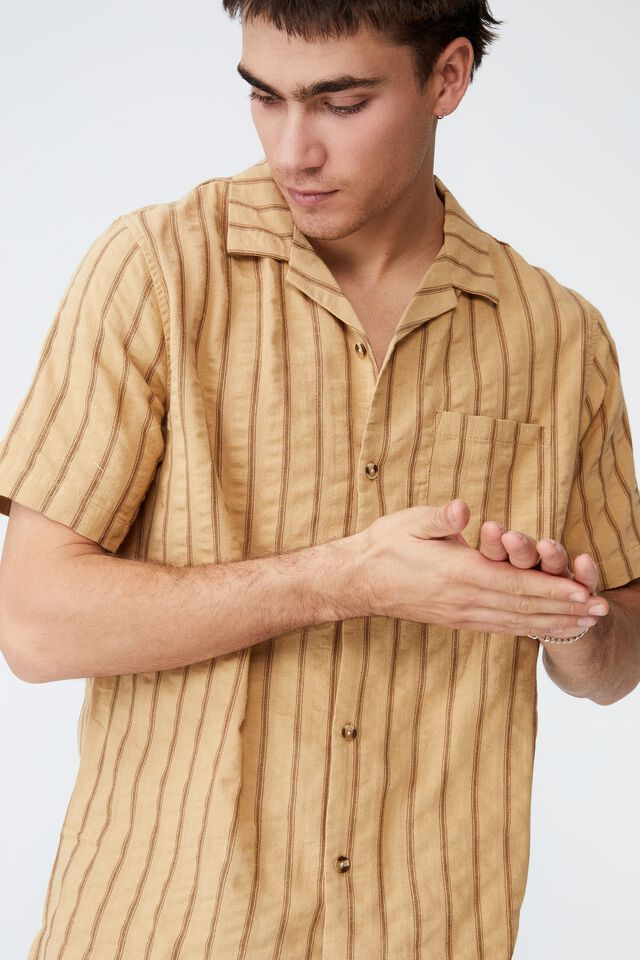Riviera Short Sleeve Shirt, MUSTARD STRIPE