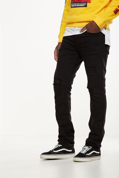 Slim Fit Jean, BLACK BLOW OUT + REPAIR