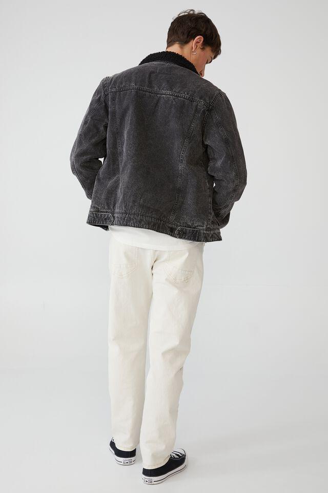 Borg Denim Jacket, GRUNGE BLACK