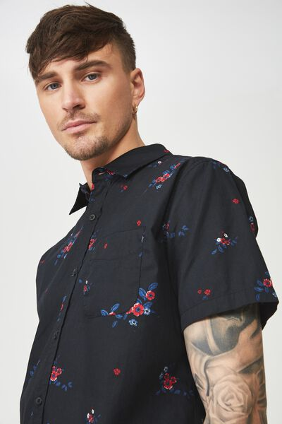 Short Sleeve Resort Shirt, BLACK FLORAL CLASSIC