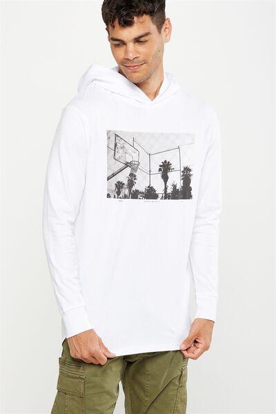 Hooded Long Sleeve, WHITE/BALLER