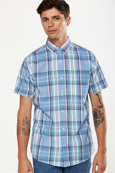 Vintage Prep Short Sleeve Shirt, SKY MULTI CHECK