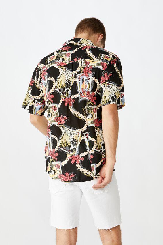 Vacation Short Sleeve Shirt, BLACK POSTCARDS