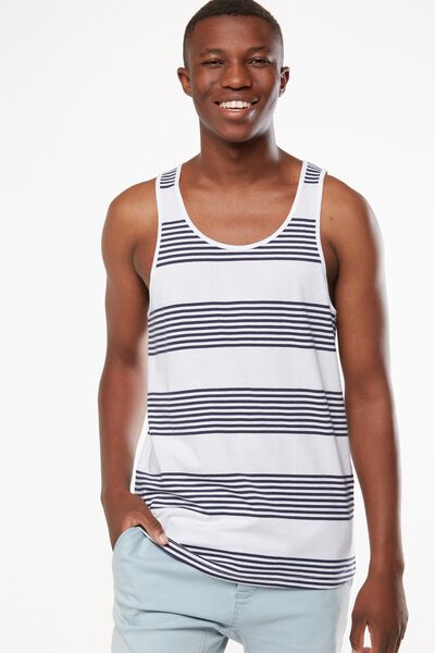 Tbar Anchor Tank, WHITE/TRUE NAVY STRIPE