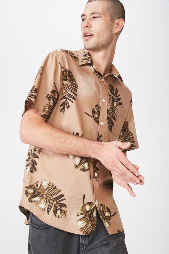 Short Sleeve Resort Shirt, FALLING LEAVES