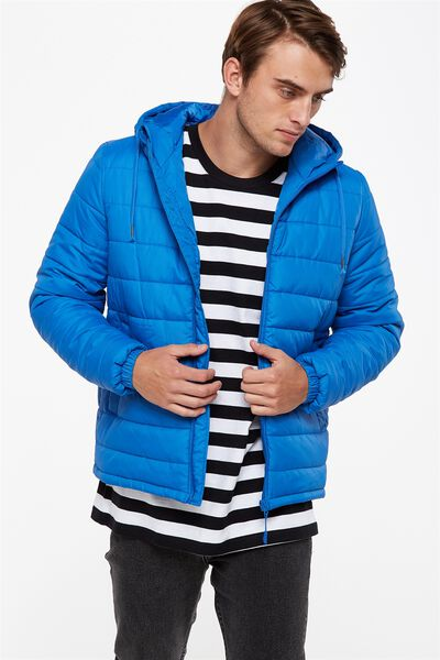 Hooded Quilted Jacket, COBALT